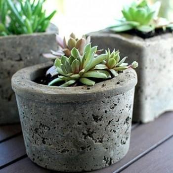 pots de fleurs en ciment DIY