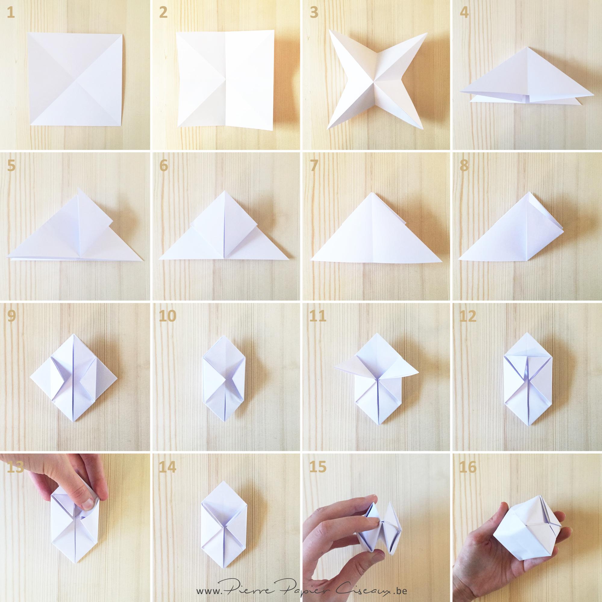 étapes de pliage pour réaliser une boule origami