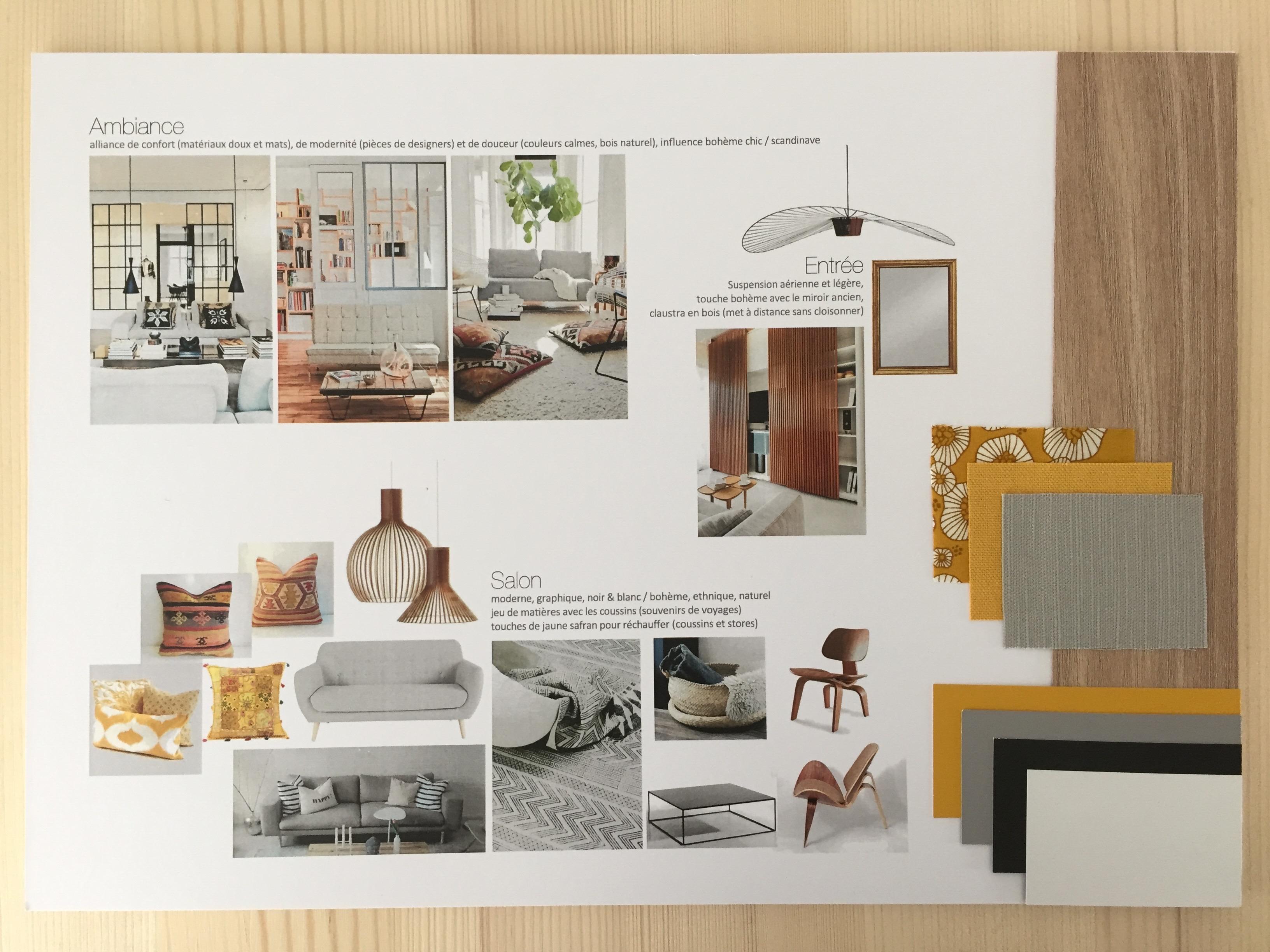 projet d co 1 appartement pour un couple ambiance boh me design pierre papier ciseaux. Black Bedroom Furniture Sets. Home Design Ideas