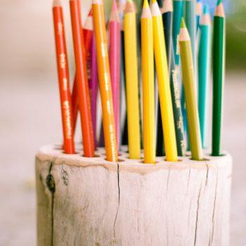 pot à crayon dans une bûche percée
