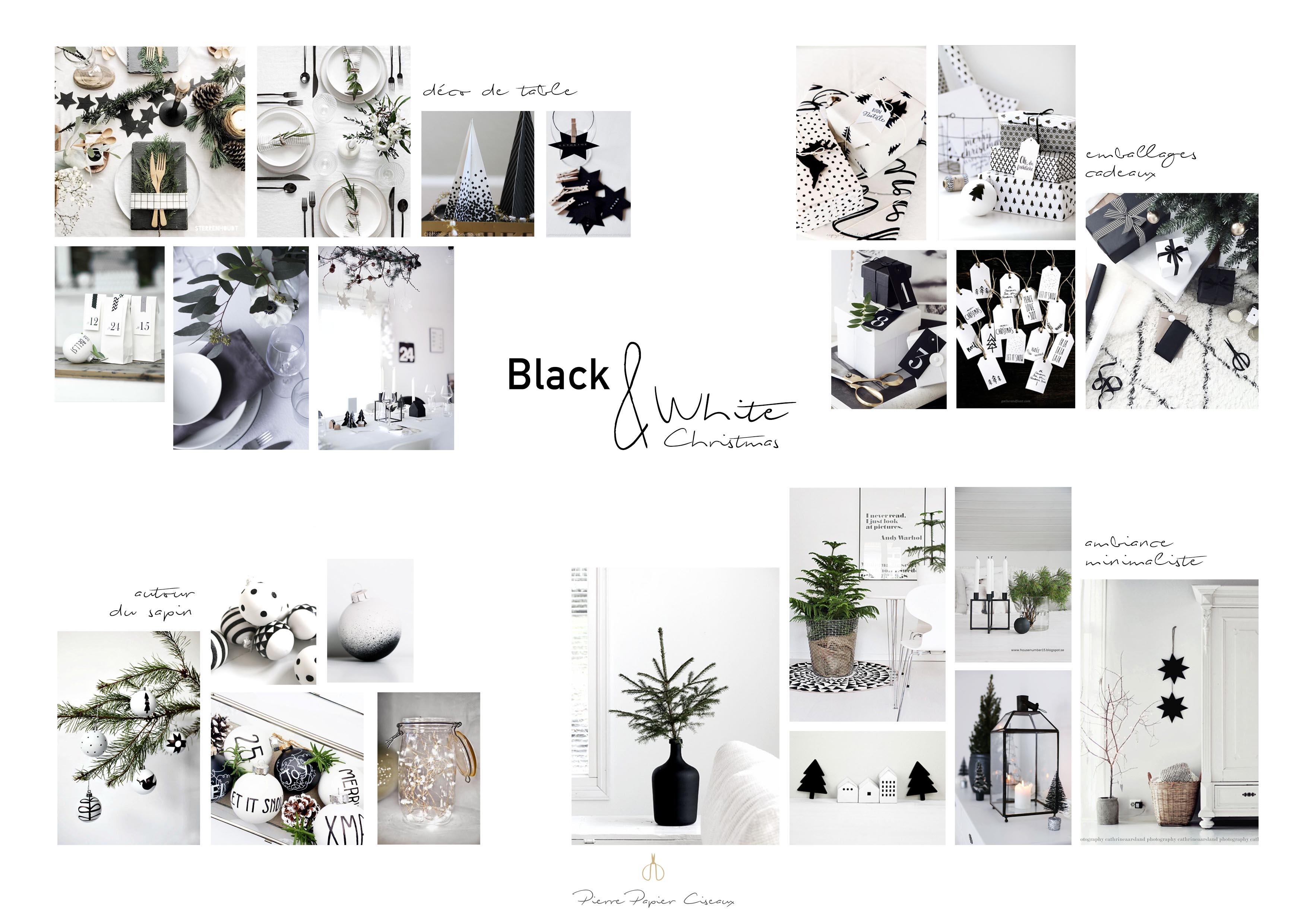 d co de no l en noir et blanc look scandinave minimaliste. Black Bedroom Furniture Sets. Home Design Ideas