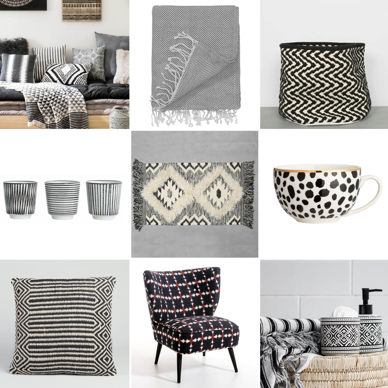 sélection shopping motifs ethniques noir et blanc