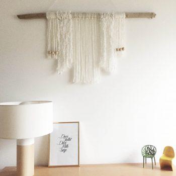 DIY décoration murale tissage laine macrame bois flotté